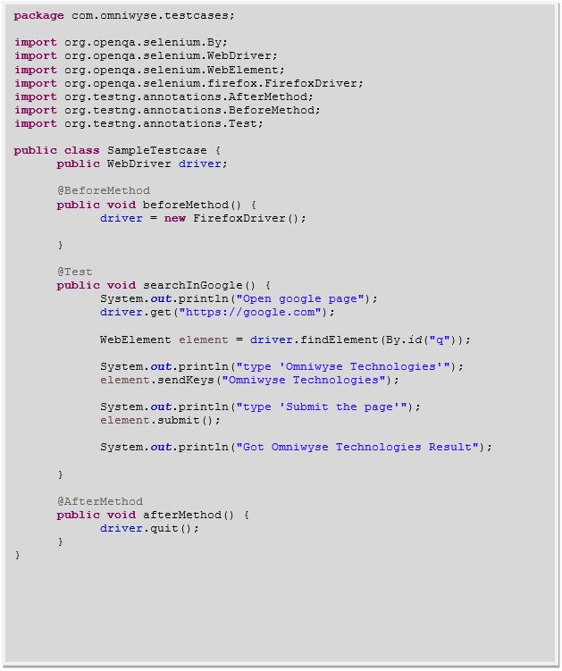 Sample TestNG script